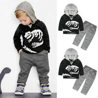 2PCS Kids Infant Baby Boys Suit Hooded Tops T-shirt+Long Pants Tracksuit Clothes