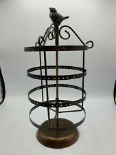 204 Holes Earring Jewelry Display Rotating w Bird Rack Metal Stand Organizer