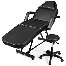 Adjustable Tattoo Massage Table Bed Facial Beauty Barber Chair w/ Stool Black