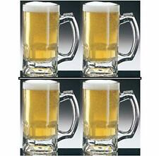New 4 PC Glass Beer Mugs Made in Mexico Mexican Jarro de Cerveza Large Grande