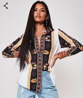 Black Long Sleeved Shirt Leopard Baroque Autumn Winter CURRENT SEASON Size 12 14