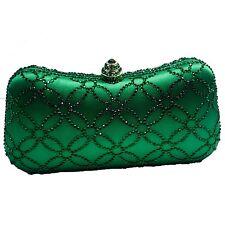 DMIX Womens Flower Crystal Clutch for Wedding Bridal Prom Evening Bag Emerald