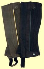 Clarino Suede Leather Half Chaps Brown or Black Adult S M L XL XXL