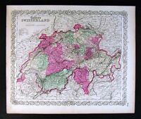 1865 Colton Map Switzerland Geneva Zurich Lucern Swiss Alps Matterhorn Mt. Blanc