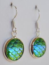 Mermaid Scales! earrings in iridescent sea green - siren dragon scale