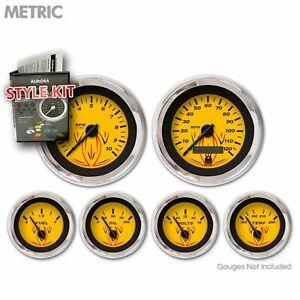 Gauge Face Set Retro Metric Pinstripe Yellow Black Vintage Needles Chrome Rings