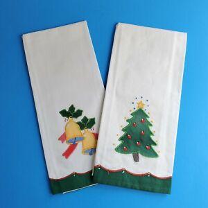 Set of 2 NIP Vintage Lillian Vernon Appliqué Guest Towel Christmas Tree & Bells