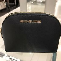Michael Kors  Small Medium Makeup Cosmetic Leather Travel Case Pouch Bag Black