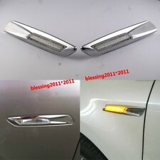 2x Chrome Trim LED Side Marker Amber For BMW E90 E91 E60 E61 E82 E88 F10 Style