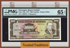 TT PK 128a 1972 NICARAGUA 1000 CORDOBAS PMG 65 EPQ GEM UNCIRCULATED ONLY 1 IN 65