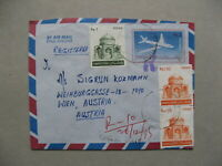 PAKISTAN, uprated R-cover to Austria 1984, aeroplane stamps mausoleum