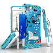 For iPhone 8 Plus,7 Plus Armor Tri Shield Hybrid Protector Clip Case Blue Flower