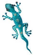 Gecko Wall Decor Art Gift Metal Blue Sculpture Garden Patio Home Tropical Room