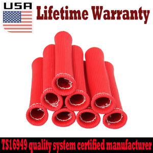 "New 8 Red 6"" HIGH HEAT SHIELD ENGINE SPARK PLUG WIRE BOOT PROTECTOR SLEEVE COVER"