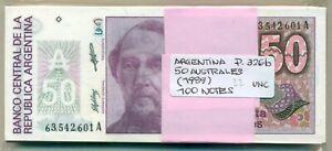 ARGENTINA BUNDLE 100 NOTES 50 AUSTRALES (1989) P 326b UNC