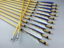 12X Wood arrows Traditional Handmade Arrows Turkey Feather 11/32 For Longbow