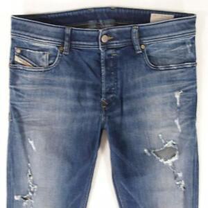 Mens Diesel SLEENKER 0844M Stretch Slim Skinny Blue Jeans W33 L30