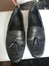 Croft & Barrow Mens Black Woven Leather Loafers Size 11M Core Technology Shoes