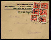1923 Koln Germany Inflation cover to NUenried Telegraph Union