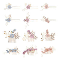 KQ_ BL_ Crystal Crown Flower Hair Comb Gold Leaves Side Hair Pins Prom Bridal Cl
