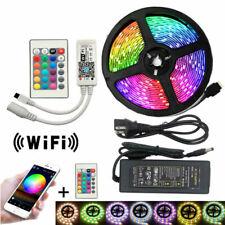 5050 LED Strip IP30 IP65 RGB LED Light Flexible 5M Remote Controller Adapter Lig