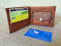 Handmade Leather Bifold Coin Pocket Change Wallet WMP Billy Goat Designs