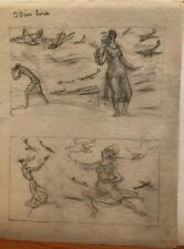 "Odin's Birds 11"" x 8 1/2"" Pencil Drawing-1930s-Bertram Hartman"