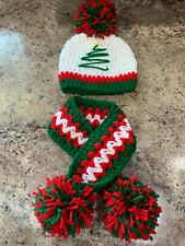 Handmade Crochet newborn 3 month Baby Christmas Hat & Scarf Outfit Photo Prop
