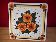 White Yellow SUNFLOWER GAS Stove Top SQUARE BURNER COVERS 4 Pieces