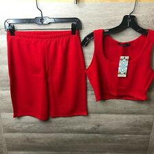 Boohoo Womens Size Medium/Large Red Cycling Shorts Co-ord Set NEW