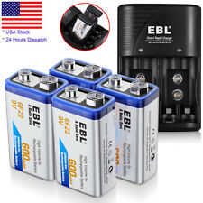 600mAh 9V Battery Rechargeable 6F22 + Universal 9 Volt AAA AA Batteries Charger