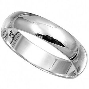 Solid Sterling Silver Plain  Band Ring 4mm Wide Sizes G-Z WeddingThumb 20 Sizes