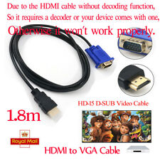 1.8m HDMI to VGA Cable HD-15 D-SUB Video Adapter Converter Cable For PC Monitor