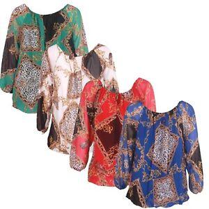 Women Ladies Chain Leopard Lace Tie Top Italian Lagenlook Fashion Tops Blouse