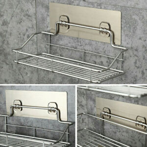 Stainless Steel Kitchen Bathroom Shower Shelf Storage Suction Basket Rack