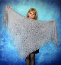 Embroidered russian shawl,Wool wrap,Gray kerchief,Goat down cover up,Fur stole