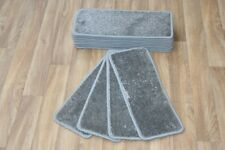 14 Carpet Stair Case Treads Majestic Grey 608 Saxony Large Pads! Noble