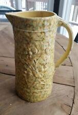 Antique yelloware green yellow spongewear tall pitcher raised Floral design