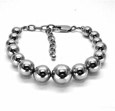 "STAINLESS STEEL POLISHED GRADUATED BEADS LINK  BRACELET, 7.25"" + 2"" EXTENDER"