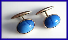 1920th  Antique RUSSIAN Sterling SILVER 875 cufflinks  RARE blue oval