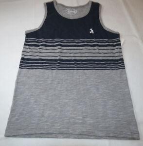 Disney Mens S small shirt tank top navy blue grey heather striped 2dny3354 NWT