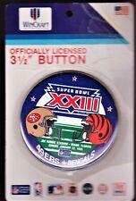 "1989 SUPERBOWL XXIII 49ers BENGALS 3-1/2"" NFL LICENSED BUTTON PIN, JOE ROBBIE"