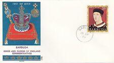 (86058) Barbuda Philart FDC Kings & Queens Henry V1 -  15 September 1970