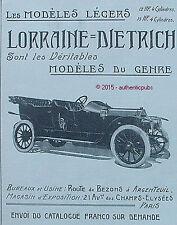 PUBLICITE AUTOMOBILE LORRAINE DIETRICH VOITURE MODELE LEGER DE 1910 FRENCH AD