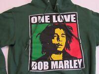 Bob Marley Womens Size Small S ONE LOVE Reggae Hooded Sweatshirt Green