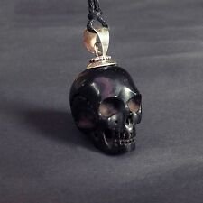 BLACK SKULL PENDANT NECKLACE Carving Sterling Silver Gothic Taxidermy Jewelry