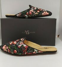 100% Authentic YOSI SAMRA Womens Vidi Mule, Black Floral Brocade,  Size 6,7,8