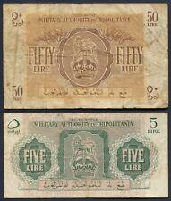 British Military Authority Tripolitania 50 and 5 Lire Notes - Libya