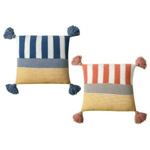 Nordic Tassels Accent Boho Pillow Case Multicolor Tufted Striped Cushion Cover