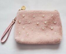 Ulta Makeup Bag Cosmetics Travel Pouch Pink Fluffy Wristlet w/ Pearls, New! A21